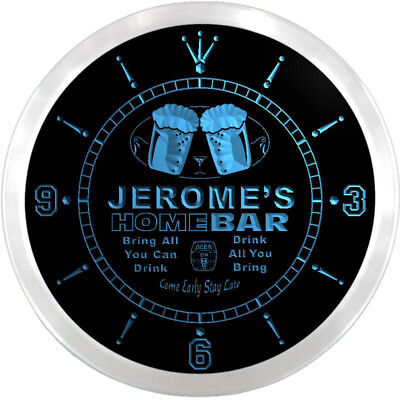 ncp0166-b JEROME'S Home Bar Beer 3D LED Neon Sign Wall Clock