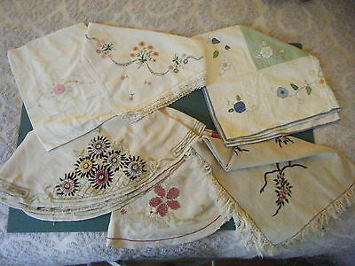 6 Antique English Embroidered Tablecloths Cutters Some W. Very Minor Problems