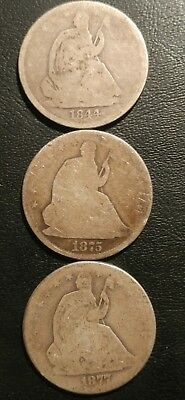 Lot Of 3 Seated Half Dollars, 1844(O),75,77.
