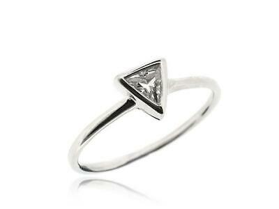 Sovats 925 Silver White Cubic Zirconia Wedding Engagement Triangl Ring Size 5-12