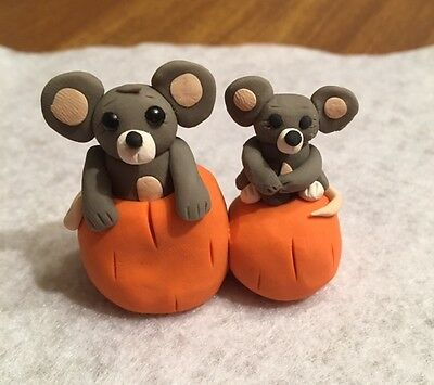 New Adorable Mice WithPumpkins - OOAK - Handmade - Polymer Clay