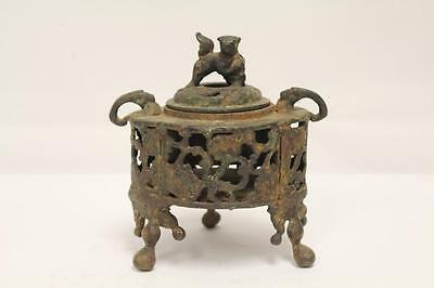 Preowned  Asian Covered Metal  Censer Marked