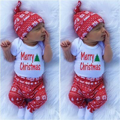 Cute Newborn Baby Boy Girls Merry Christmas Clothes Romper Pants Hat Outfit 3PCS