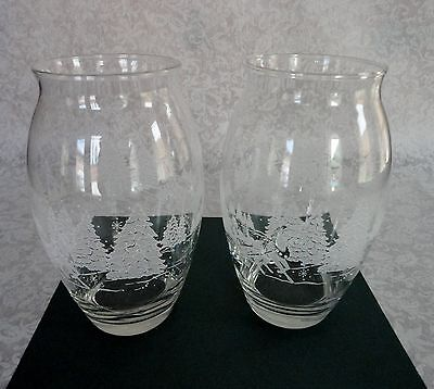 Avon 1998 President's Club Etched Sleigh Glass Vase Set Of 2