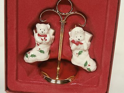 Lenox Holiday Stocking Salt & Pepper Shakers with Stand - Bears - New In Box