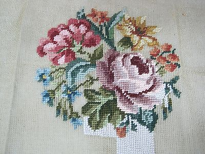 Older Bucilla Needlepoint Canvas Roses Star Lily Blue Flowers More 26 x 25 Inch