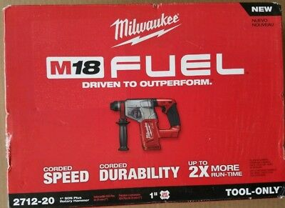 "Milwaukee 2712-20 M18 FUEL 1"" SDS Plus Rotary Hammer (Bare Tool) Brand New"