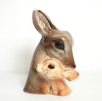 Royal Copley Pottery Vase Deer and Fawn Planter Ceramic Head Vase