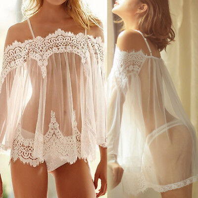 Womens Lingerie Babydoll Sleepwear Underwear Lace Dress Nightwear +G-string AU