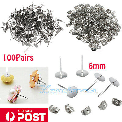 200pcs Earring Stud Posts 8mm Pads and backs Hypoallergenic Surgical Steel AU