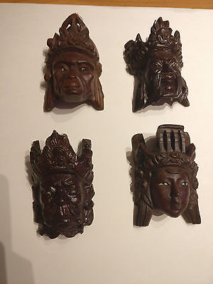set of 4 Chinese Hand carved mask Oriental head