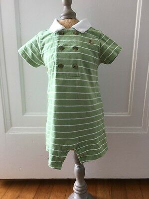 Janie And Jack Baby Elephant Green Knit One-piece Romper. 0-3 Months