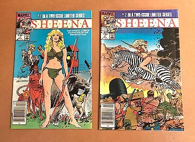 lot of 2 SHEENA comic books VF+/NM- issues #1 and #2 Limited Series Marvel 1984
