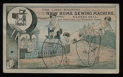 """Lot 47: 1880's New Home Sewing Machine """"Penny Farthing Bicycles"""" Trade Card"""
