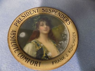 Antique President Suspenders Tin Litho Tip Tray Kohlhagen Vintage Coaster