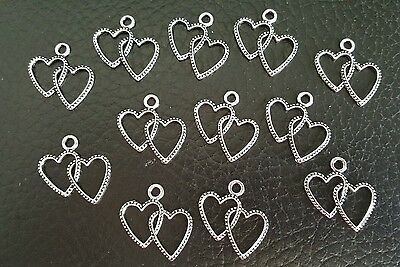 Bulk Lot of 12 Silver Plated Double Hearts Charm Findings