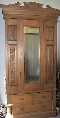 Pine Wardrobe with carved panels