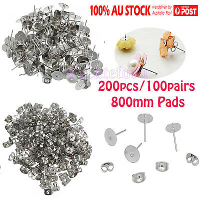 200PCS Earring Stud Posts 8mm Pads & Nut Backs Silvery Surgical Steel AU STOCK