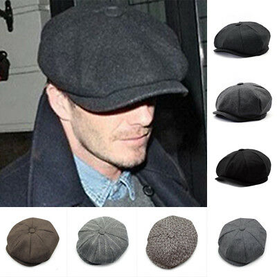 Mens Herringbone Baker Golf Caps Newsboy Solid Hat Beret Cap Ivy Flat Cabbie New