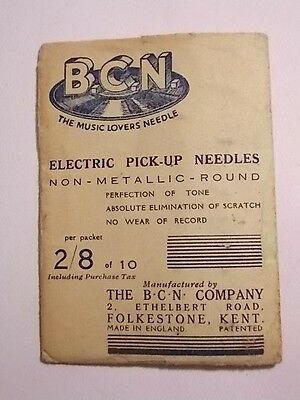 Vintage FULL Packet of  BCN Fibre Gramophone Needles. VG