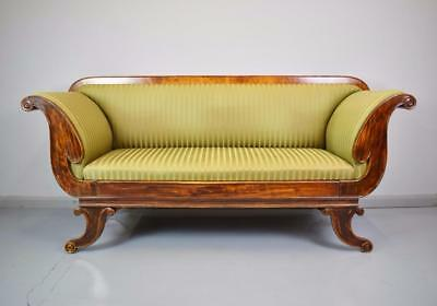 Stunning Victorian Regency Mahogany & Beech Scroll Arm Sofa Chaise Circa 1850