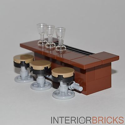 Lego Furniture Bar With Stools Brown Bar W 3 Stools Glasses