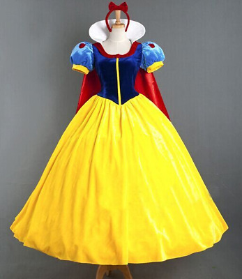2017 Womens Deluxe Snow White Fancy Dress Costume Fairy Tale Princess Queen AU