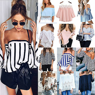 Womens Off Shoulder Tops Boho Tee Pullover Casual Shirts Blouse Summer T-Shirt