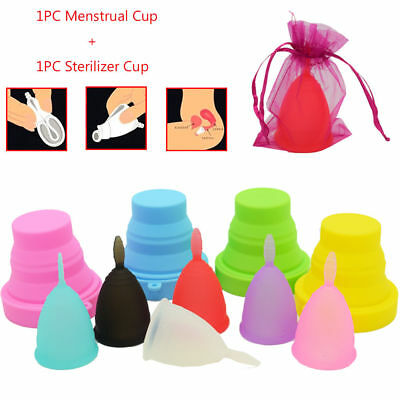2017 New Lady 100% Silicone Comfortable Menstrual Cups S/L Sterilizer Cup