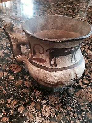 """Zuni Zia Olla pitcher with Birds and Deer old 1875. Bobcat han. Size: 6 /4"""" x 5"""""""