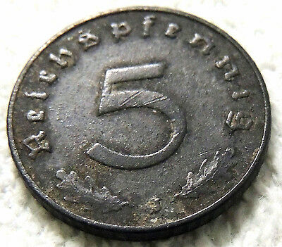 Germany - Five Reich Pfenning Coin - 1941 - Reasonable Cond - Deceased Estate