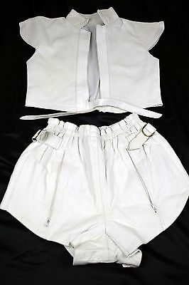 Vintage 1960/70's White Leather Hot Pants Suit Shorts and Top Size 4