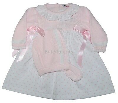 Girls Pink Spanish Frilled Neck Traditional Dress & Bonnet NB-18 Mths