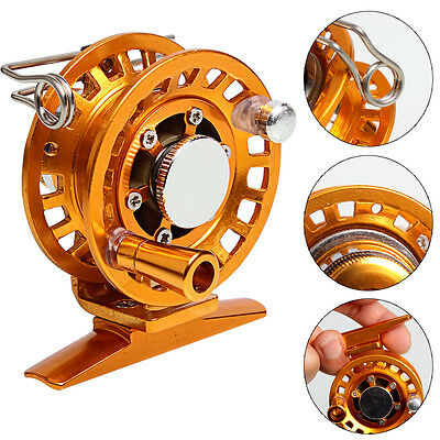 Mini Drag Ice Fishing Tackle Reel Alloy Metal Casting Fishing Reels Gold Red 1pc