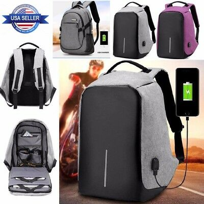 Fashion Anti-theft Laptop Notebook Backpack With USB Charging Port School Bag US