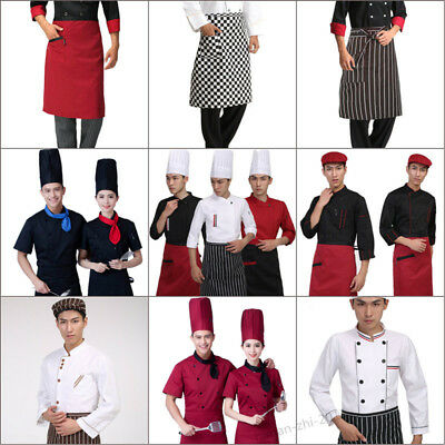 Chef Jacket Coat Catering Uniform Unisex Kitchen Short Long Sleeve Cloth White
