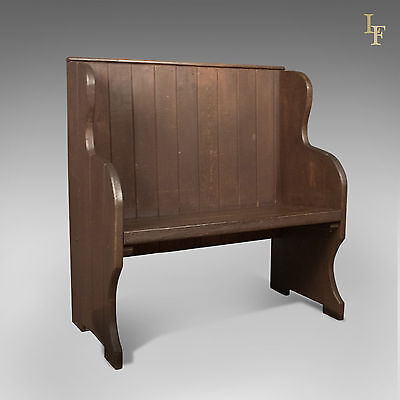 Antique Settle, 19th Century Bench, Pew, English, Hall c.1890