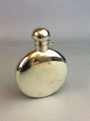 Hugh Crawshaw 1996 Solid Silver Round Hip Flask 129.2 Grams Ship Worldwide