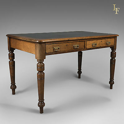 Antique Desk, Victorian Writing Table, English, Oak and Leather c.1880