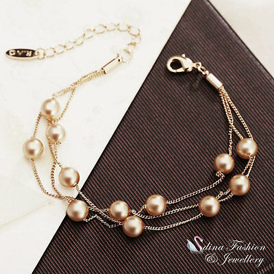 18K Rose Gold Plated Simulated Pearl Triple Chain Champagne Strand Bracelet