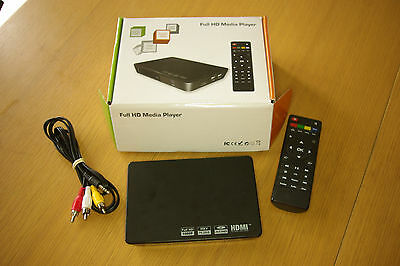 Portable Full 1080P HD Media Player Box HDMI AV RCA Outputs USB SD/MMC Inputs