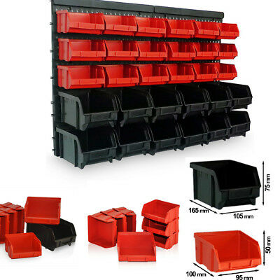30 pcs Wall Mount Storage Bin Kit Stackable Boxes Garage Tools Warehouse Rack