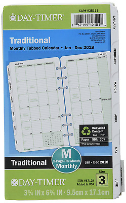 Day Timer Planner Refill 2018 2 Pg/Month Jan 18 - Dec 18 NEW FAST SHIPPING