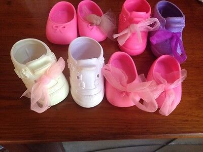 Galoob 8 Baby Face Doll Shoes Original Pink White Purple