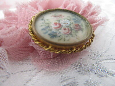 Stunning Vintage Brooch   The Very Old Gold  Set /hand Painted Floral