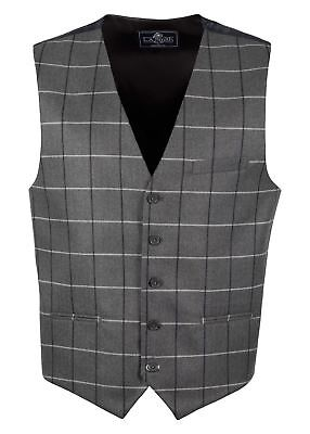 Men's Lloyd Attree & Smith Check Waistcoat with Printed Back - Grey