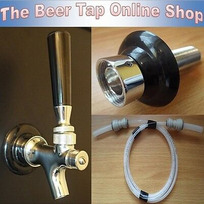 Self Closing Beer Tap Faucet+Shank & Beer Line. Kegerator/Keezer Conversion Kit.