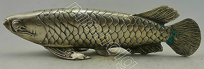 Collectible Decorate Old Handwork Silver Plate Copper Carve Lifelike Fish Statue