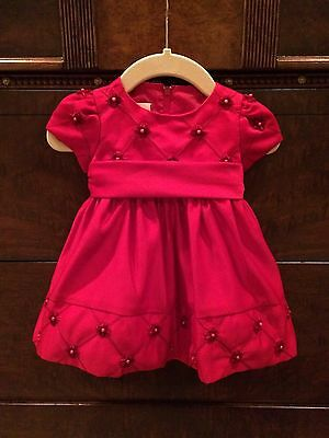 Holiday American Princess 9 Month Dark Red Baby Girl Dress Satin Flower Pearl