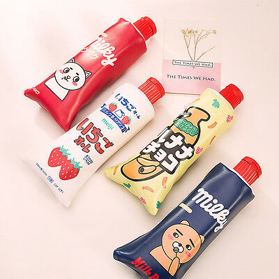 Kawaii Toothpaste Pencil Case with Sharpener Lid (RED/YELLOW/NAVY)